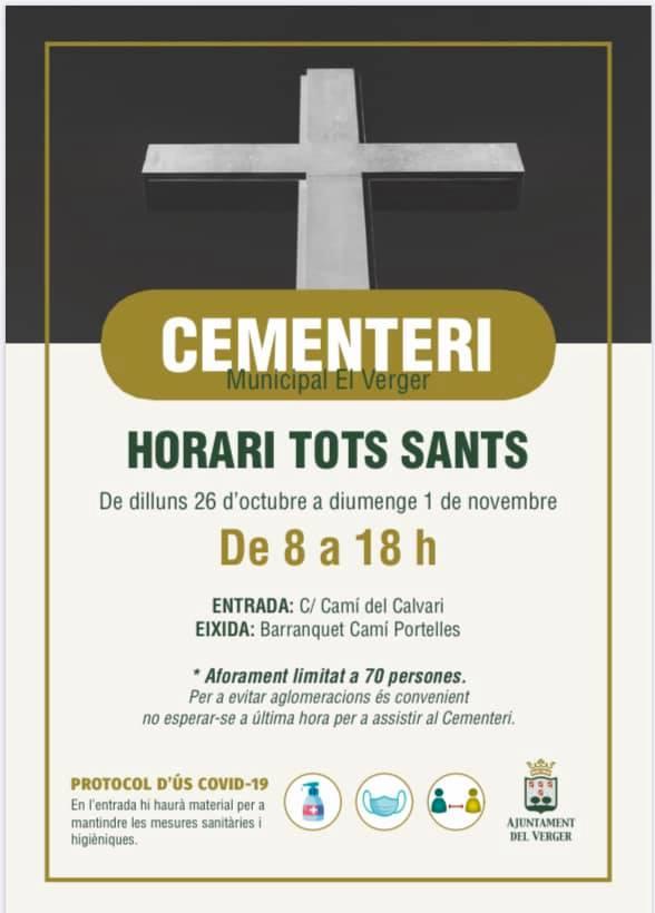 HORARI CEMENTERI EN LA SETMANA DE TOT SANTS