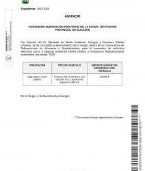 "CONCESSION OF A SUBSIDY ON BEHALF OF THE ""EXCMA. DIPUTACIÓN PROVINCIAL DE ALICANTE"""