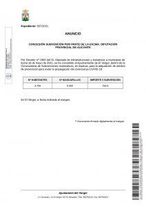 CONCESSION OF A SUBSIDY ON THE PART OF THE EXCMA. DIPUTACIÓN DE ALICANTE