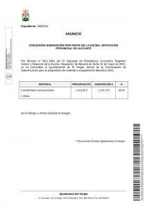 AWARDING OF A GRANT BY THE EXCELENTÍSIMA DIPUTACIÓN PROVINCIAL DE ALACANT