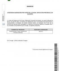 CONCESSÓN DE UNA SUBVENCIÓN POR PARTE DE LA EXCMA. DIPUTACIÓN PROVINCIAL DE ALICANTE