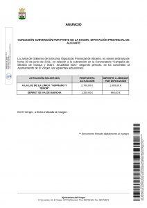 CONCESSIÓ D'UNA SUBVENCIÓ PER PART DE L'EXCMA. DIPUTACIÓ PROVINCIAL D'ALACANT